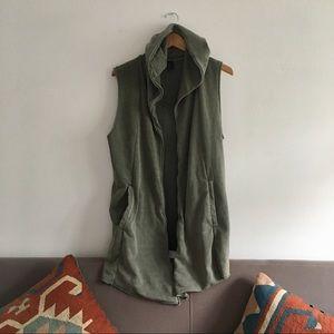 Draped Sage Green Long Line Hooded Vest